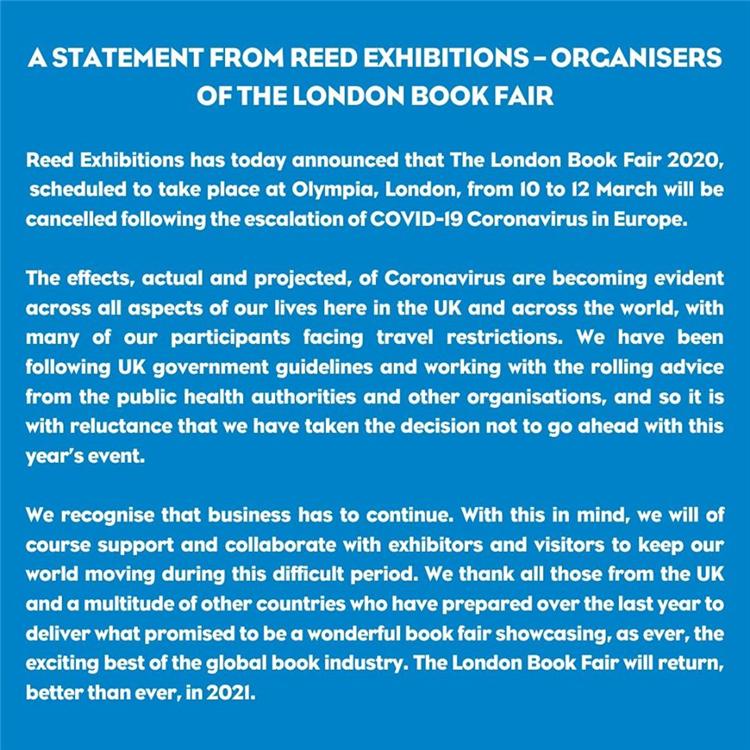 新冠病毒在欧持续蔓延,2020年伦敦书展被迫取消